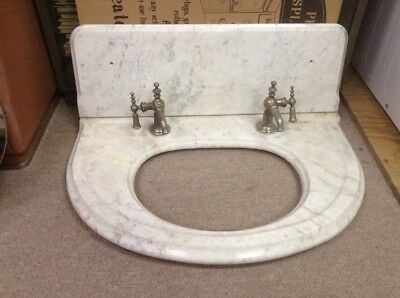Antique Marble Vanity Sink Top with back splash and faucets