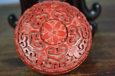 20th C. Chinese Cinnabar Lacquer 'Lotus' Box And Cover