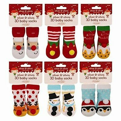 Baby 1st Christmas 3D Socks Bootees 6 Xmas Characters 0-6 Months Boy Girl Unisex
