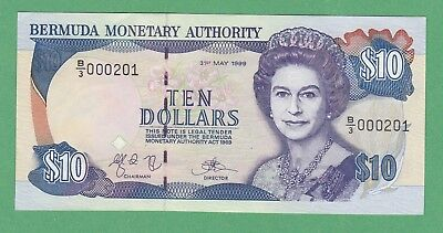 Bermuda 10 Dollar Note P-42d  ABOUT UNCIRCULATED  * Low Serial Number 000201 *