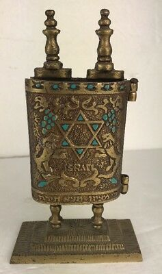 Vintage Brass Judaica Torah Ten Commandments Star of David Israel 7x4