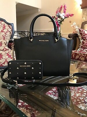 144bfad96721 Nwt,Authentic Michael Kors Ellis Large Satchel Leather Handbag&Wallet Set  $700