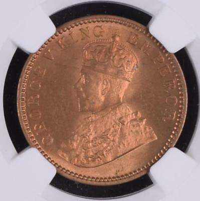 British India KG V 1933(C) 1/4 Anna NGC Graded MS 66 RB Gem UNC