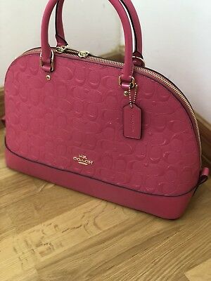 NWT Coach Sierra Satchel in Debossed Patent Leather 38120 Light Gold/Pink Ruby