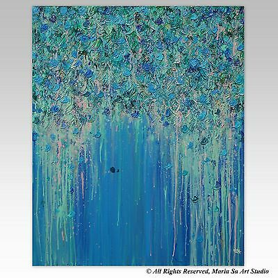 Flowers Painting with Blue & Pink, 36x30 Original Large Wall Art Ready to Hang