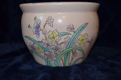 """VINTAGE HAND PAINTED CHINESE FISH BOWL or PLANTER 9.5""""X7"""""""