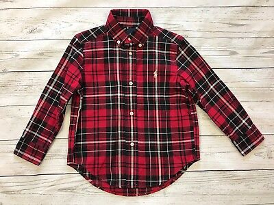 Ralph Lauren Boy Button Front Shirt 3T Plaid Checked Long Sleeve Red Black White