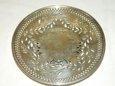 Roger Williams Sterling Silver Hand Chased Pierced Candy Plate Christmas Design