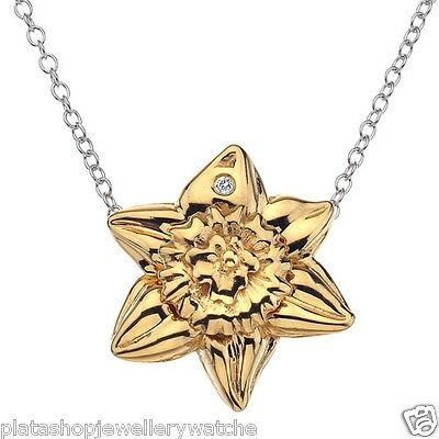 Hot Diamonds Sterling Silver Spring Daffodil Necklace Pendant DP389 Ladies Gift