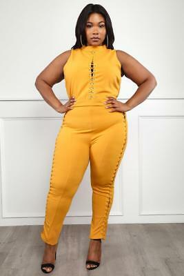 9402948281a Plus Size Black Jumper Lace Up Detail Mock Neck Yellow Jumpsuit Catsuit 1X  2X 3X