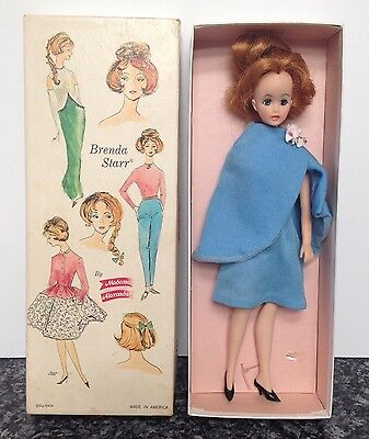 1964 Brenda Starr Fashion Doll Madame Alexander Wearing Blue Cape Dress With Box