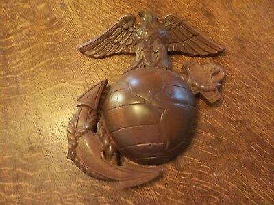 Ww2 Vintage Trench Art Eagle Globe And Anchor -Navy  Marine Corps Plaque