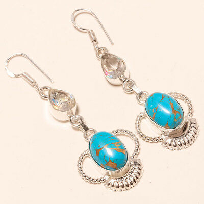 """Blue Copper Turquoise,white Topaz Gemstone 925 Silver Jewelry Earring 2.54"""""""