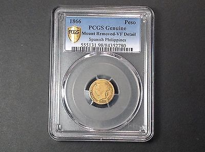 1866 PCGS VF Details Philippines Gold 1 Peso . RARE !