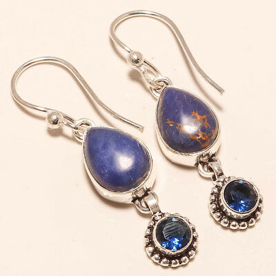 """Blue Copper Turquoise,blue Sapphire Gemstone 925 Silver Jewelry Earring 2.15"""""""