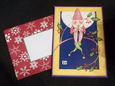 Mary Engelbreit blank Christmas Card w/envelope Elf sitting on a holly branch