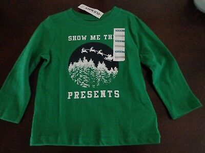 """Boys Christmas l/s shirt Old Navy """"show me the presents"""" 18-24 mo NWT"""