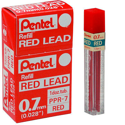 Box of 12 Tubes Pentel PPR-7 Red 0.7mm Refill Lead For Mechanical Pencils