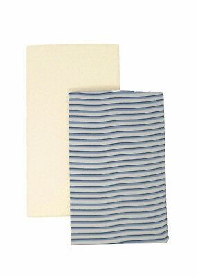 DK GOTS 100% Organic Cotton Fitted Blue Stripe & Cream 95x65cm Travel Cot Sheets