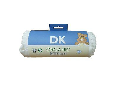DK GOTS Certified 100% Organic Cotton Cellular Pram/Crib Blanket - White Trim