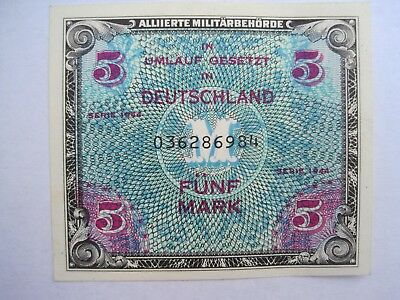 1944 German Military Payment Currency Bank Notes Set of 3 - 1/2, 1 and 5 Marks