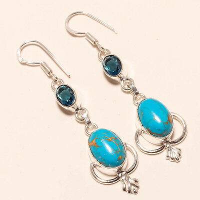 """Blue Copper Turquoise,blue Sapphire Gemstone 925 Silver Jewelry Earring 2.42"""""""