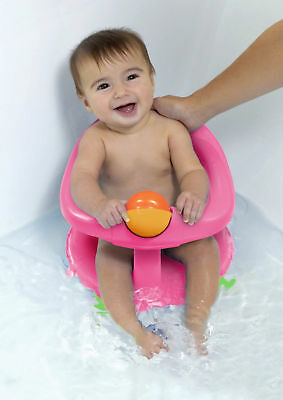 Bath Seat Safety Baby Swivel Ergonomic Shape Stability 1 year old (7-10 kg) Pink