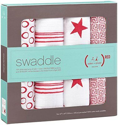 Swaddle Aden & Anais (Red) - Baby Cotton Muslin Swaddle
