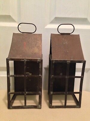 Pair Set of 2 Old Antique Copper Wall Porch Sconces