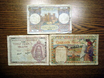 Lot of 3 Banknotes from Africa - Morocco, Algeria, and Tunisia