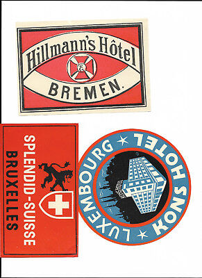 3 Luggage Labels - Bremen/Brux and Luxembourg