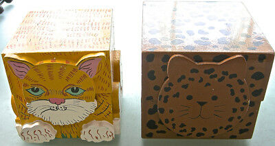 2 Hand-Painted Wood Cat-Faced Hinged Square Storage Boxes Vintage