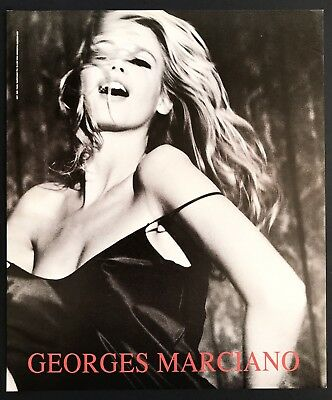 1991 Vintage Print Ad GUESS Georges Marciano Claudia Schiffer Sexy Laughing 90's