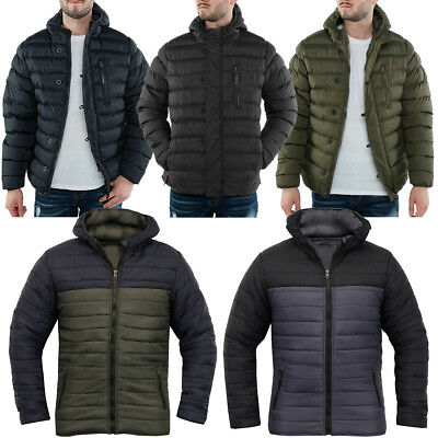 7388f9d98 MENS SOULSTAR QUILTED Winter Padded Collar Jacket Zip Up Coat Full ...