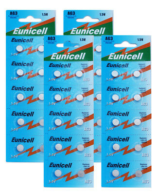 Pack of 40 Eunicell LR41 AG3 SR41W 1.5V Alkaline Button Cell Watch Batteries