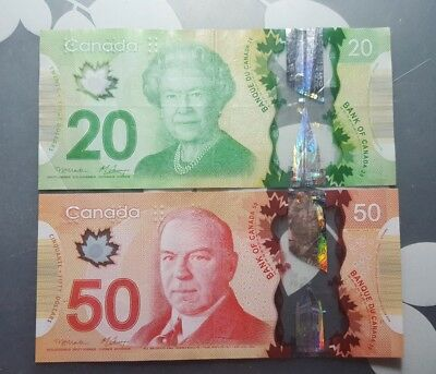 Canada polymer 20 and 50 dollar banknotes