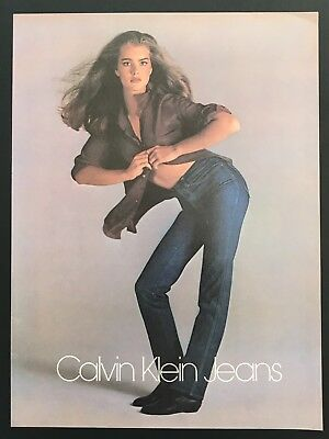 1980 Vintage Print Ad CALVIN KLEIN JEANS Brooke Shields Model Woman's Fashion