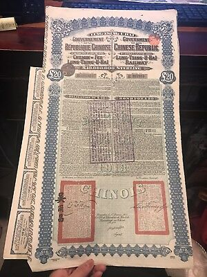 4 sheets 1913 Chinese government railway sterling bond £20
