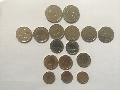 Lot of 16 Vintage Soviet  Coins Cold War USSR Russia 1980-1990