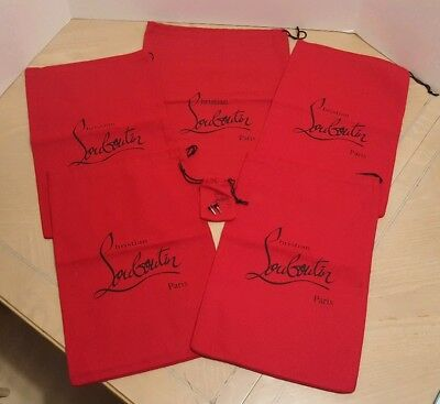 Christian Louboutin red flannel felt dust bags, lot of 6, plus heel taps