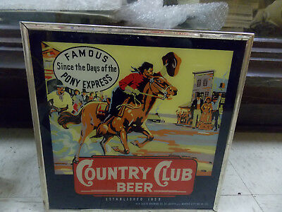 goetz country club beer sign pony express reverse on glass missouri beer wowee