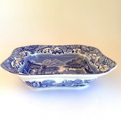 1947 Vintage COPELAND SPODE Italian Blue Square Dish Made in England Old Mark