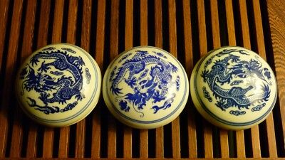 Lot of 3 Blue and White Chinese Porcelain Seal Paste Ceramic Box Pristine