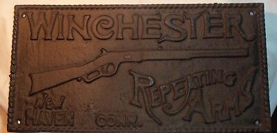 Cast Iron Winchester Rifle Sign Repeating Arms New Haven CONN. RARE LARGE SIZE