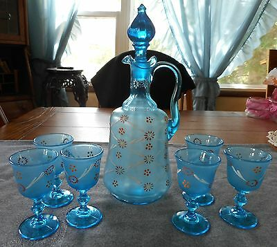 Antique Dugan Glass Blue Enameled Optic Decanter W/ 6 Cordials