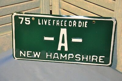 New Hampshire License Plate Single N.H. 1975 Vanity -A- Collectible Green White