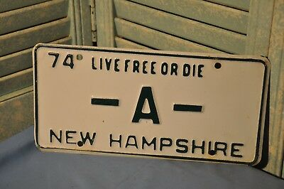 New Hampshire License Plate Single N.H. 1974 Vanity -A- Collectible White Green