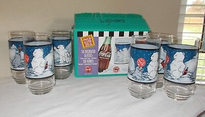 "Coca-Cola 6 Decorated Glasses ""Cubs and Seal"" Design 16 oz Indiana Glass Co."