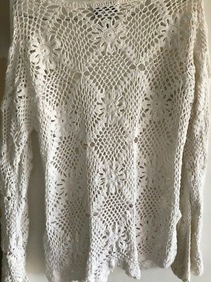 Vintage hand made crochet overlay top