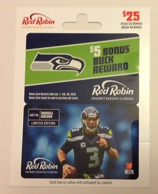 RED ROBIN SEATTLE SEAHAWKS RUSSELL WILSON #3  GIFT CARD No Value